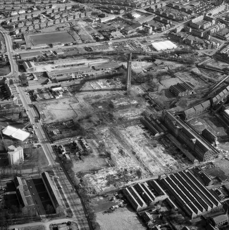 Scanned image showing oblique aerial view of Camperdown works and cox's Stack