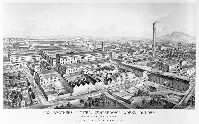 Scanned image of drawing showing perspective view of Camperdown Works.