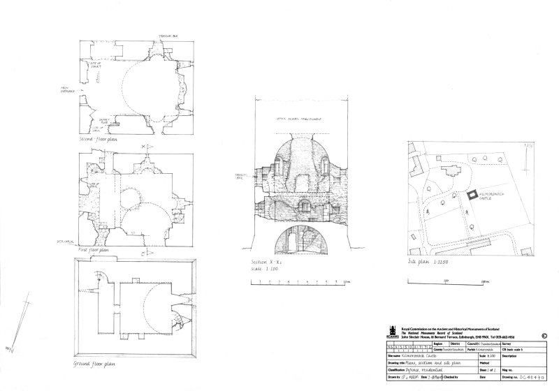 Ground floor plan, First floor plan and Second floor plan, Section and Site plan
