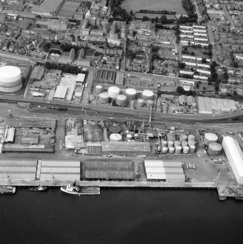 Dundee, Dundee Harbour, Caledon West Wharf. Scanned image of oblique aerial view.