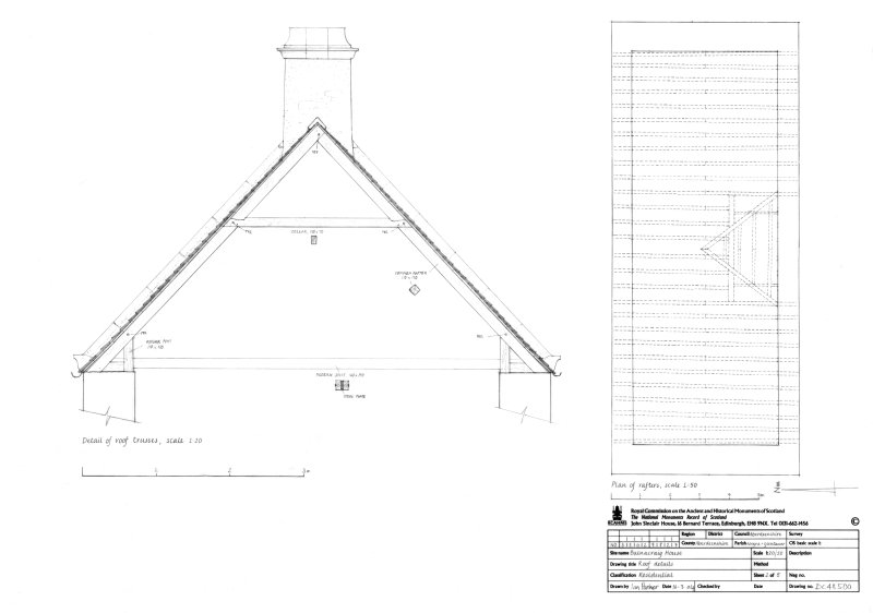 Plan of rafters and detail of roof trusses
