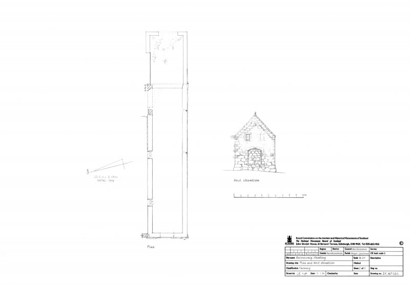 Steading Plan and West elevation