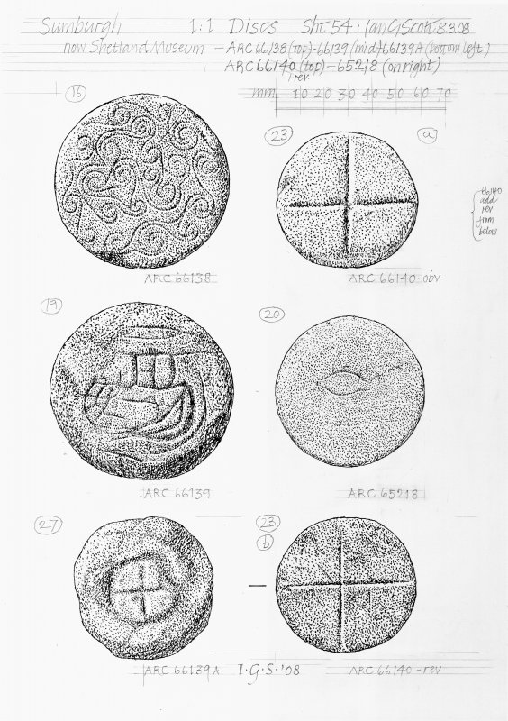Drawing of stone discs from Jarlshof Sumburgh. Now at Shetland Museum.