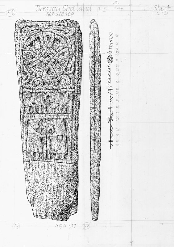 Drawing of a carved stone with Ogham inscription. Bressay, Shetland.