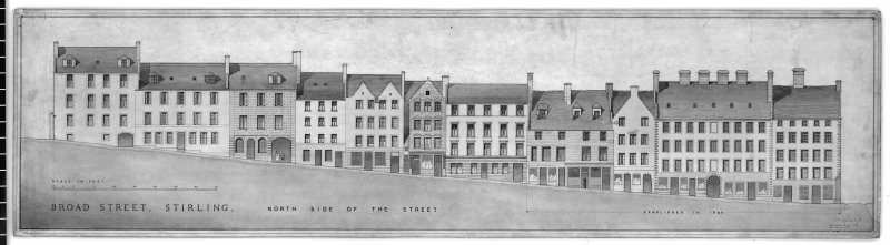 "Elevation of N side of Broad Street, Stirling, including part demolished in 1926. Inscribed ""Measured August 1940. H.W. M.H. J.L. J.P.R."