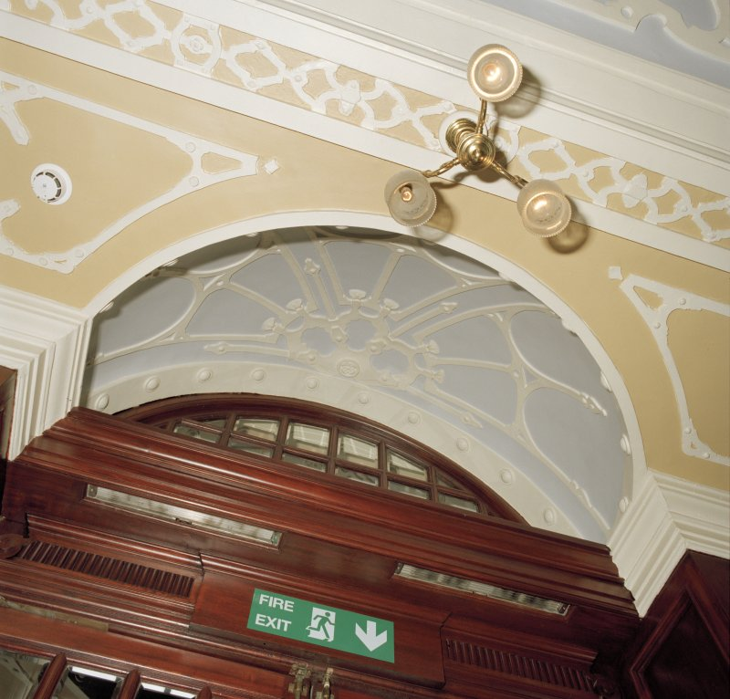 Aberdeen, Rosemount Viaduct, His Majesty's Theatre. Interior, foyer, detail of plasterwork over main door.
