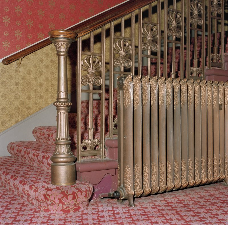 Aberdeen, Rosemount Viaduct, His Majesty's Theatre. Interior, stair to Upper Circle, detail of balustrade and radiator.