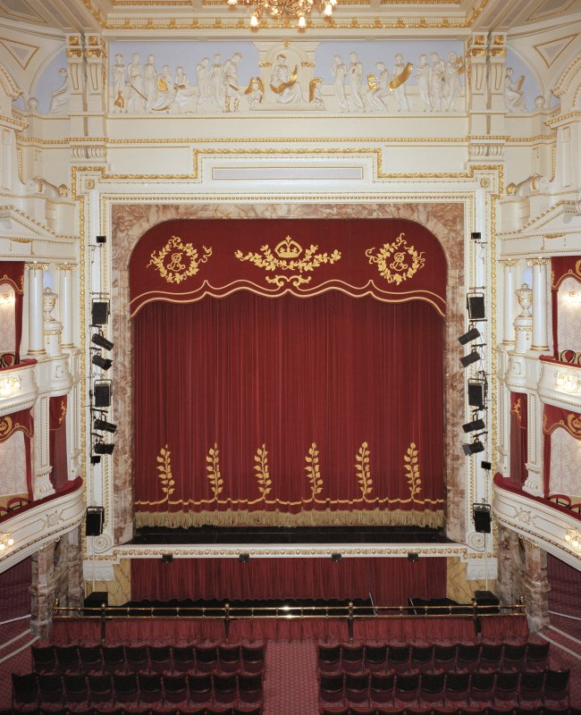 Aberdeen, Rosemount Viaduct, His Majesty's Theatre. Interior, auditorium, view of stage from circle, with tabs down.