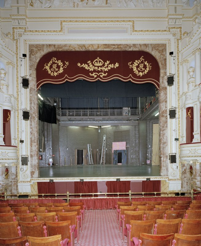 Aberdeen, Rosemount Viaduct, His Majesty's Theatre. Interior, auditorium, view of stage from circle with safety curtain and tabs up.
