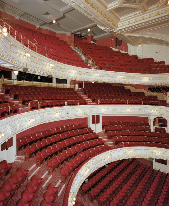 Aberdeen, Rosemount Viaduct, His Majesty's Theatre. Interior, auditorium, view from box at dress circle level.