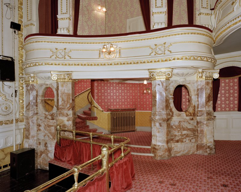 Aberdeen, Rosemount Viaduct, His Majesty's Theatre. Interior, auditorium, view of alabaster surround at base of stairs to boxes.