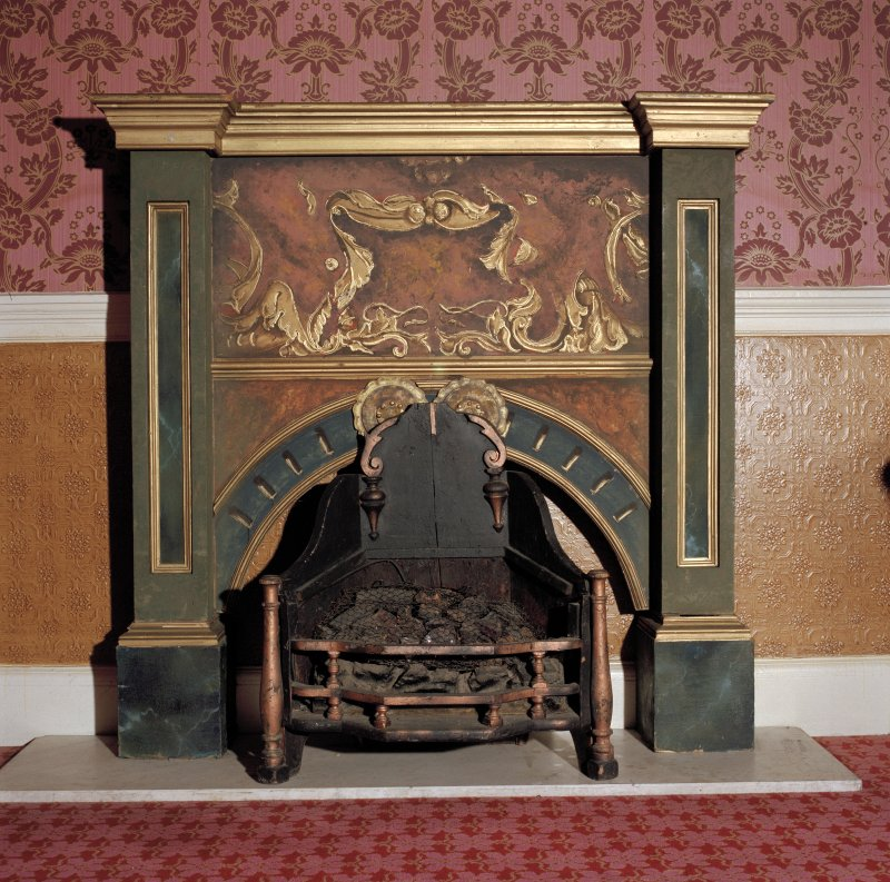Aberdeen, Rosemount Viaduct, His Majesty's Theatre. Stalls bar, detail of 'prop' fireplace.