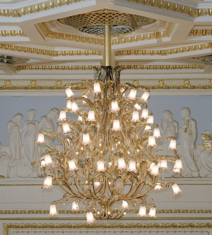 Aberdeen, Rosemount Viaduct, His Majesty's Theatre. Interior, auditorium, detail of chandelier.