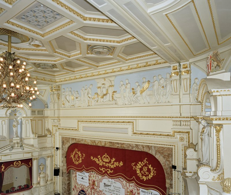 Aberdeen, Rosemount Viaduct, His Majesty's Theatre. Interior, auditorium, view of frieze over proscenium arch.