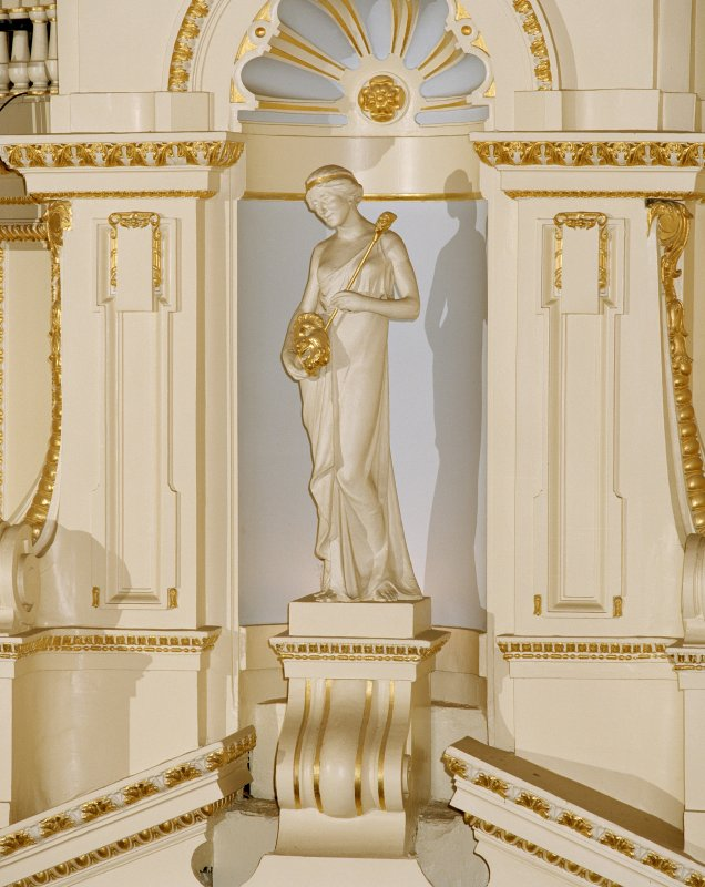 Aberdeen, Rosemount Viaduct, His Majesty's Theatre. Interior, auditorium, detail of 'comedy' figure with mask.