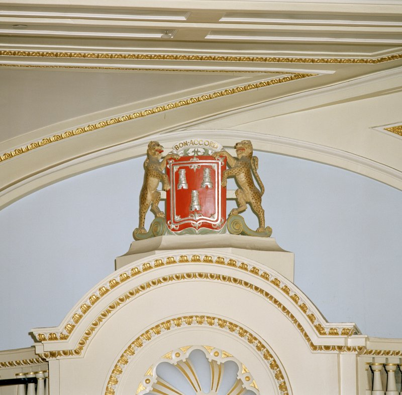 Aberdeen, Rosemount Viaduct, His Majesty's Theatre. Interior, auditorium, detail of  Aberdeen coat of arms.