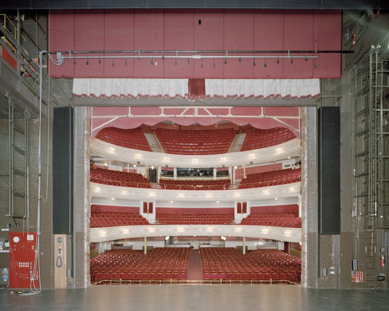 Aberdeen, Rosemount Viaduct, His Majesty's Theatre. Interior, stage, view of auditorium from stage.
