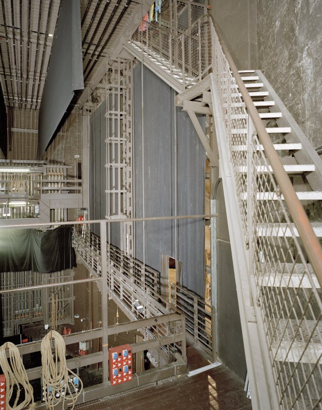 Aberdeen, Rosemount Viaduct, His Majesty's Theatre. Interior, backstage area, view of rear of fly tower with gantry.