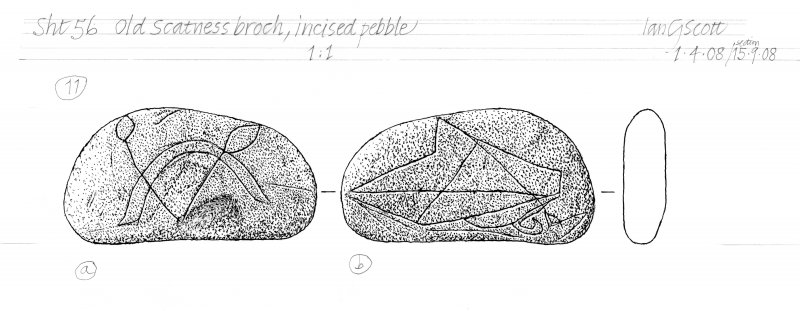Drawing of an incised pebble. Old Scatness Broch.