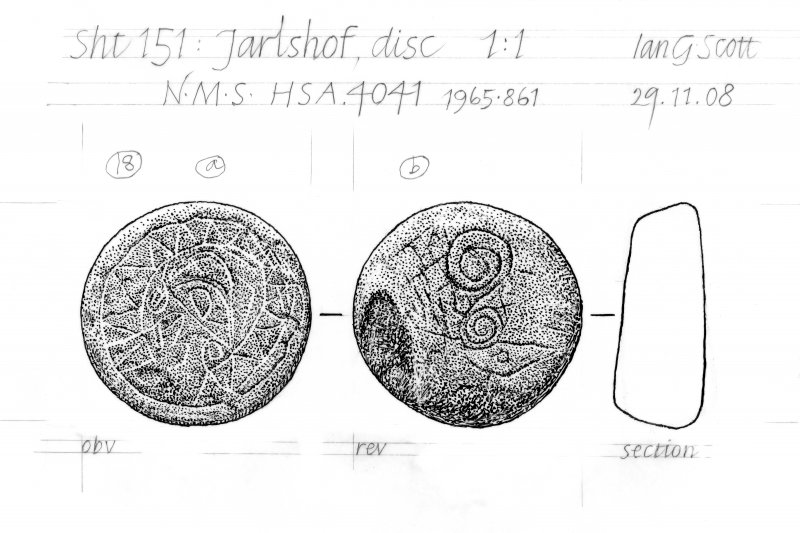 Drawing of a carved stone disc Jarlshof, Shetland.