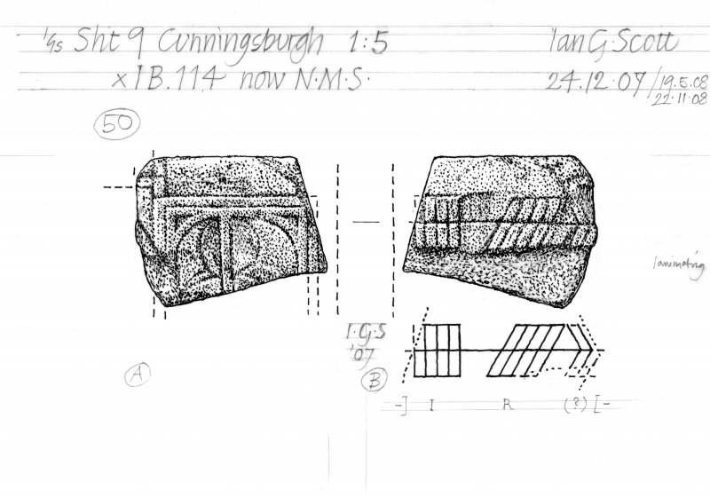 Drawing of a carved stone with Ogham inscription. Cunningsburgh, Shetland.