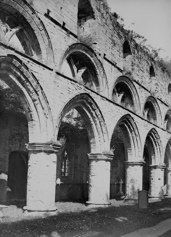 Dunkeld, Dunkeld Cathedral, interior. View of arcade between roofless nave and North aisle from South-West.