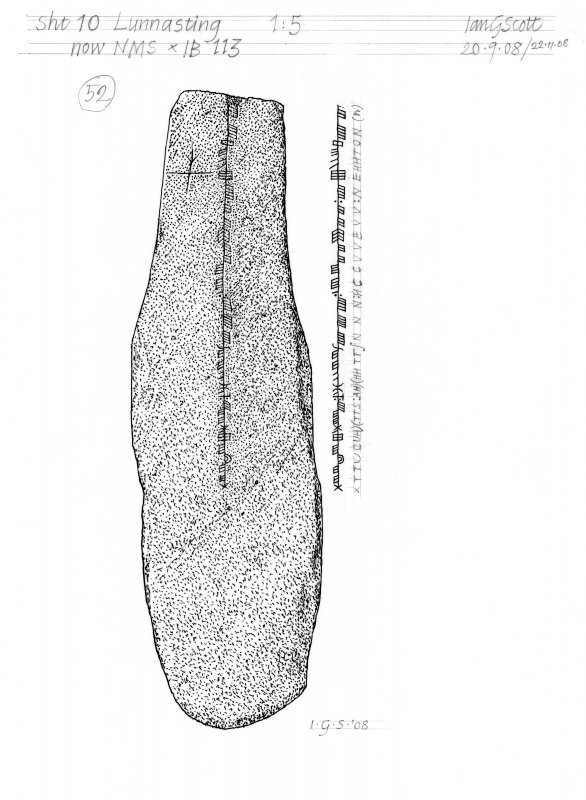 Drawing of a carved stone with Ogham inscription. Lunnasting, Shetland.