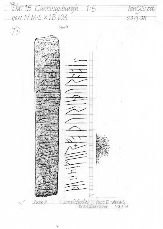 Drawing of carved stone with runic inscription. Cunningsburgh Mail.