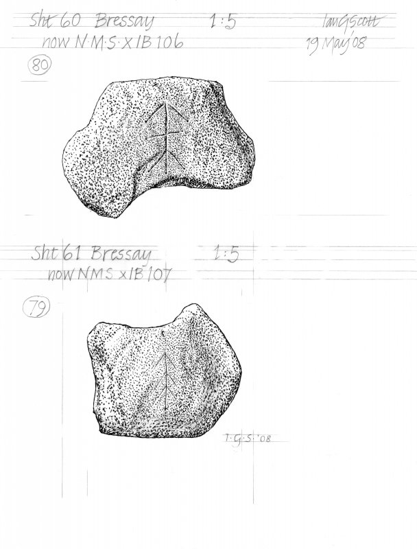 Drawing of carved stones with runic inscriptions. Bressay.