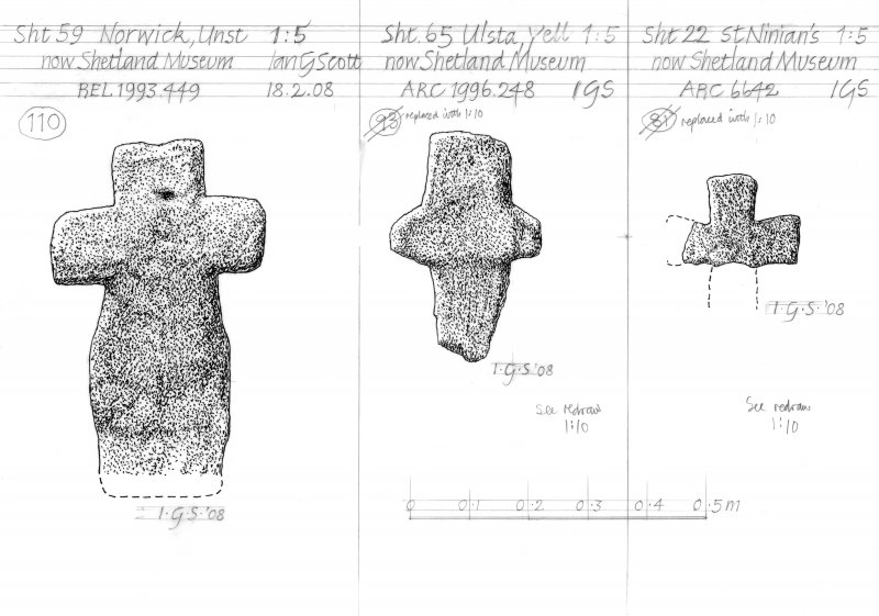 Drawing of carved stones. Norwick Unst, Ulsta Yell and St Ninian's.
