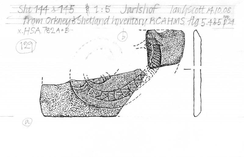 Drawing of a carved stone. Jarlshof serpent.