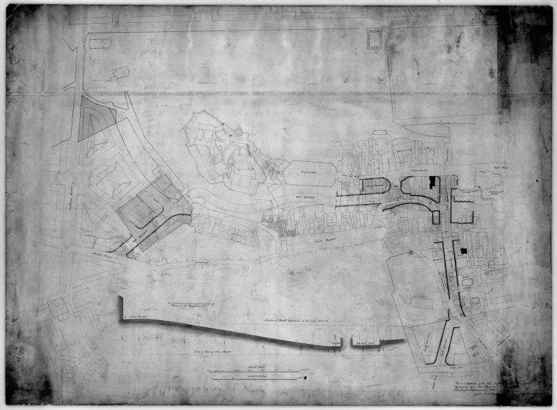 Plan of area South of Castle showing full extent of Western Approaches-Castle terrace, etc plus section of ground below George IV Bridge.  Includes pencil notes.