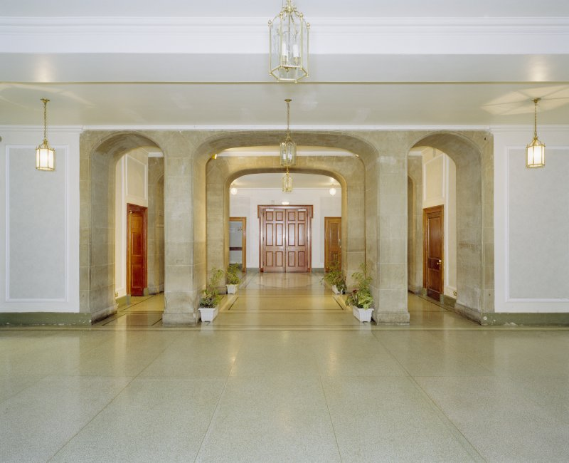 Interior, ground floor, entrance hall, view from N