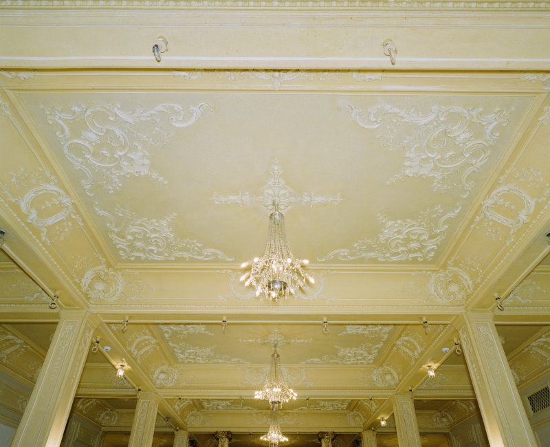 Interior, ground floor, supper room, view of ceiling from S