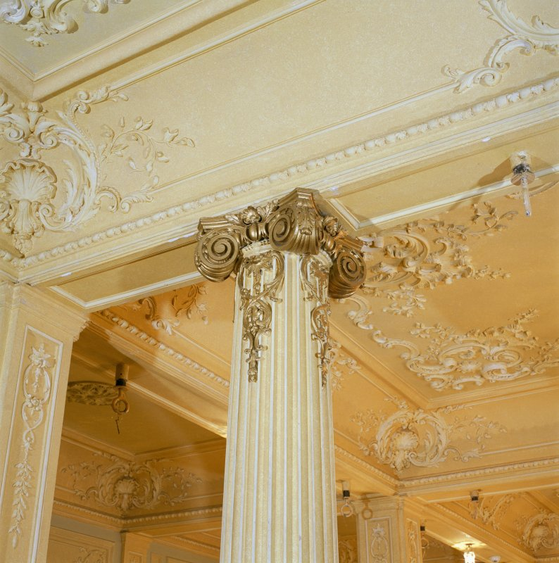 Interior, ground floor, supper room, detail of column capital