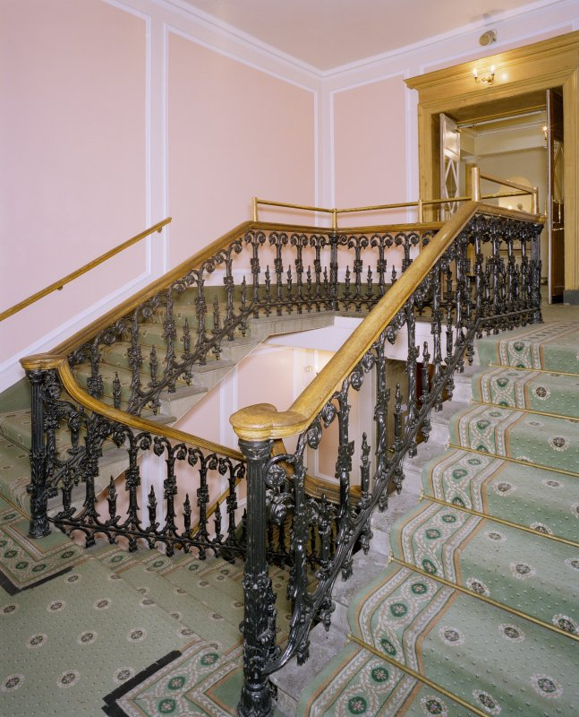 Interior, W staircase, view from half landing to NW