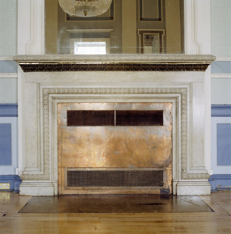 Interior, 1st floor, assembly room, view of fireplace