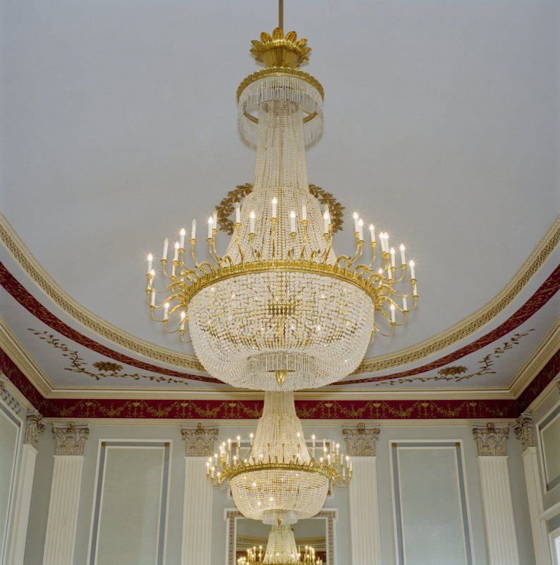 Interior, 1st floor, assembly room, view of chandeliers