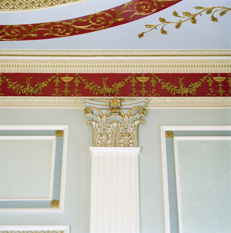 Interior, 1st floor, assembly room, detail of pilaster and cornice