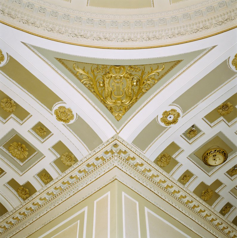 Interior, 1st floor, music hall, detail of cornice and plasterwork