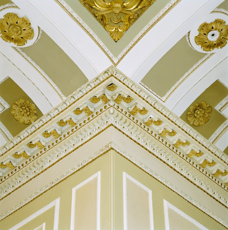 Interior view of the Assembly Rooms, Edinburgh, 1st floor, music hall, detail of cornice