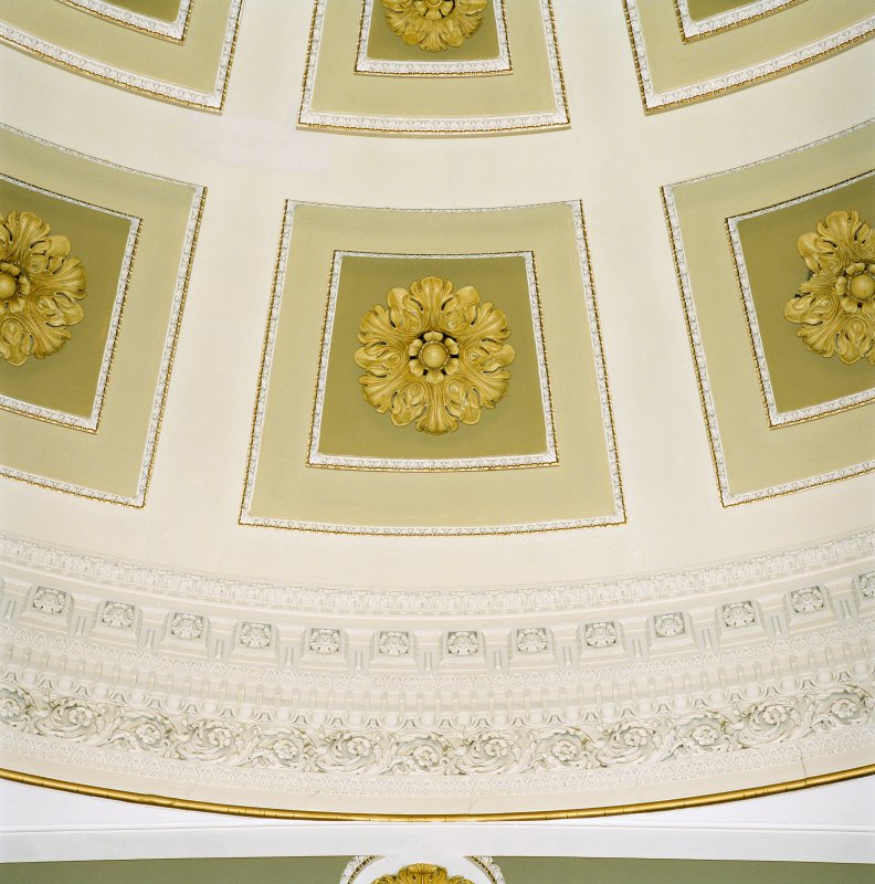 Interior, 1st floor, music hall, detail of plasterwork on ceiling
