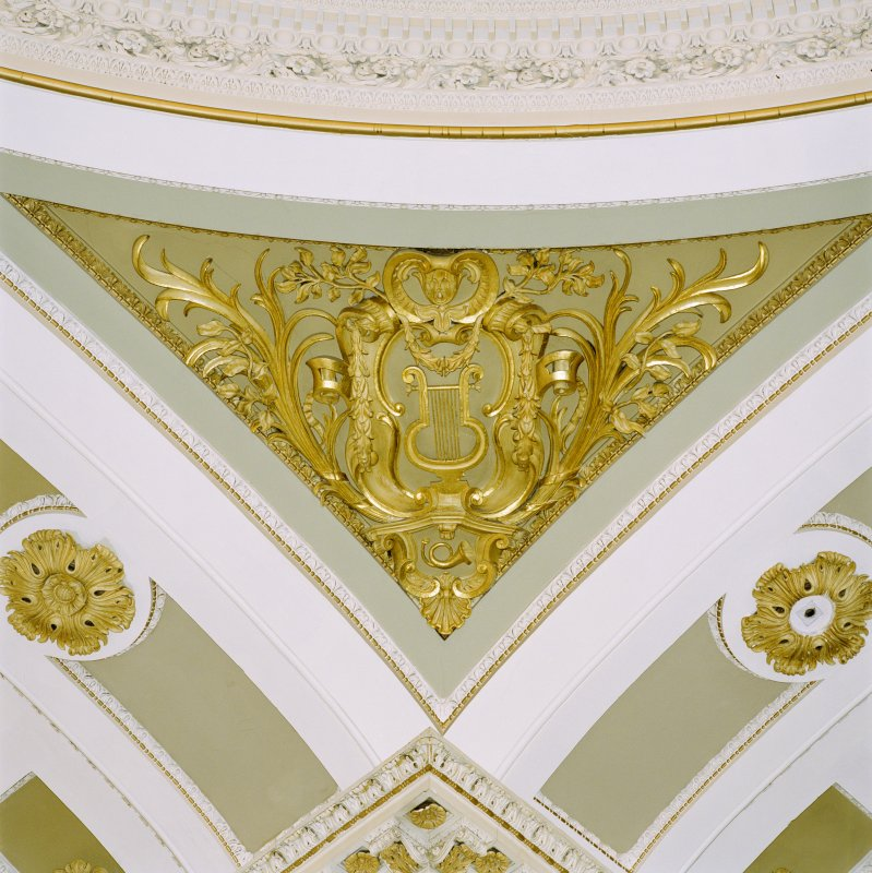Interior view of the Assembly Rooms, Edinburgh, 1st floor, music hall, detail of plasterwork on ceiling