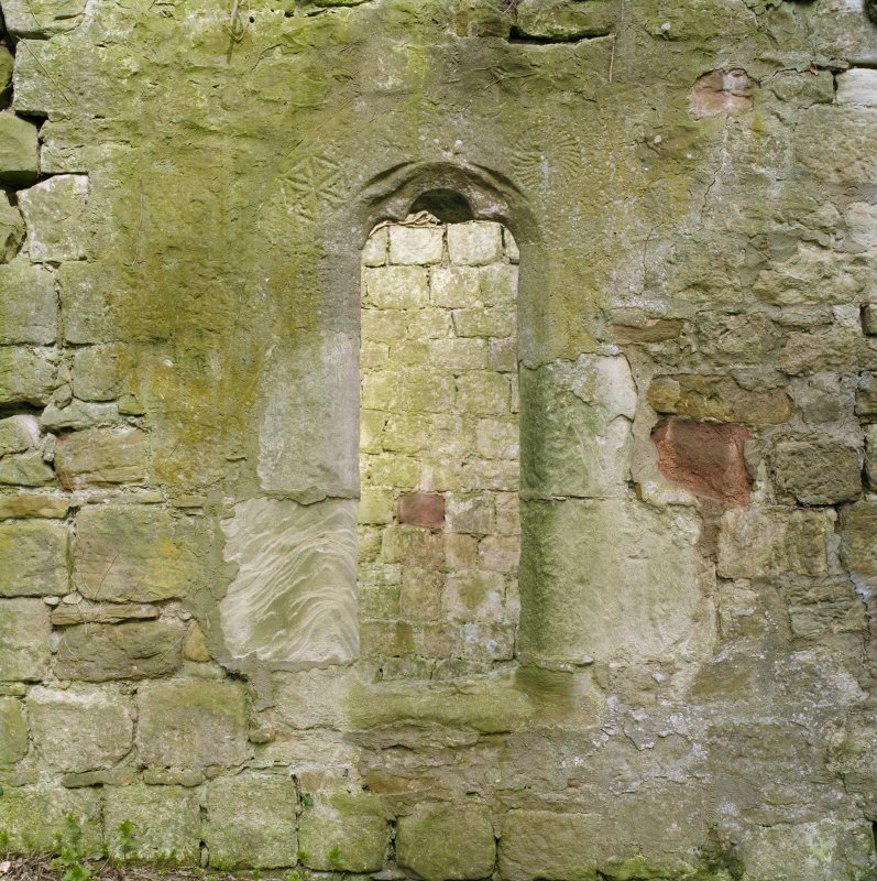 View of window at E end of S wall.