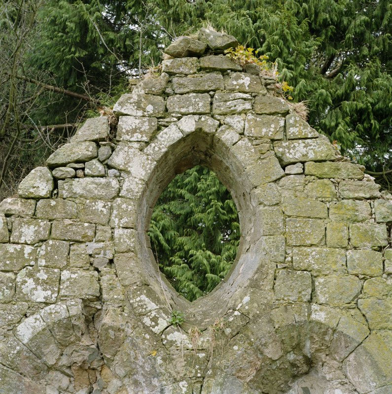 Detail of E gable vesica window from W.