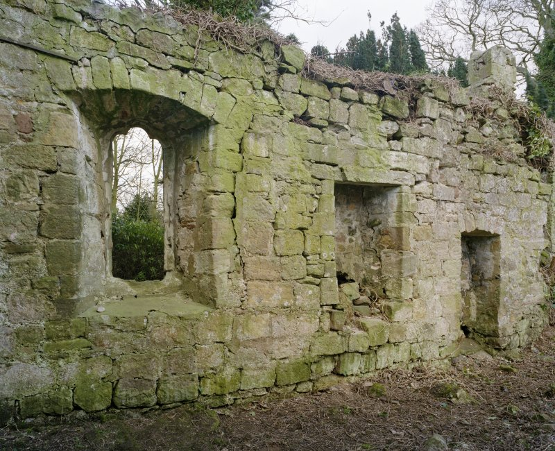 Detail of openings on S wall from NE.