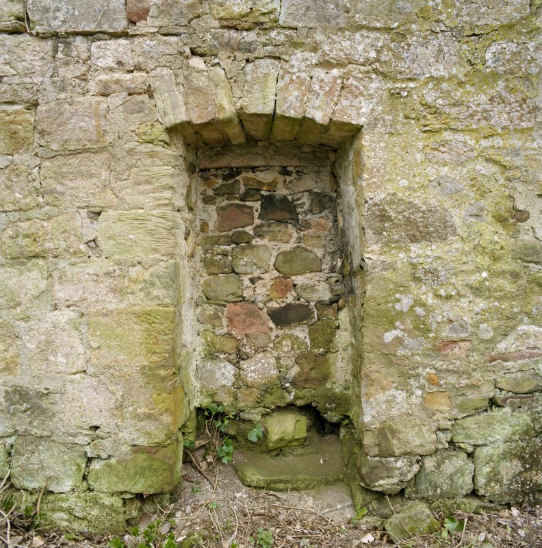 Detail of blocked doorway in S wall.