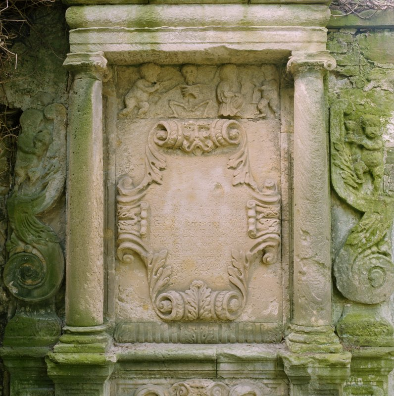 Detail of funerary monument's central panel.
