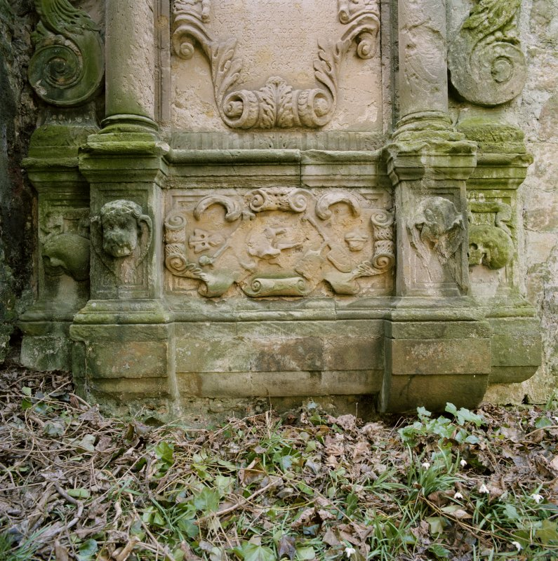Detail of funerary monument's lower panel.