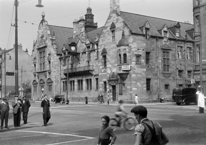 Glasgow, 840 Govan Road,  Pearce Institute General view from North West with people in foreground.